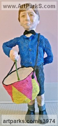Burlap & Winterstone & Encaustic Musician and Musical sculpture by Roger Golden titled: 'Whistling Boy'