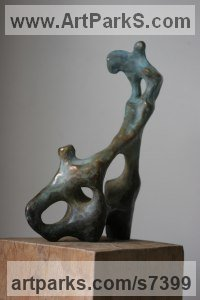 Bronze Religious sculpture by Rogier Ruys titled: 'Fifth Season ~Between Earth and Heaven (abstract Transition of Soul statue)'
