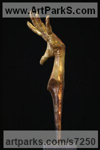 Synthetic & 24k Gold Anatomy, Hands and Feet and other human parts of the body sculpture by Rogier Ruys titled: 'FLAMENCO Gold HAND (Dancer`s Expressive Hand sculpture statue statuette)'