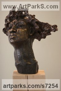 Bronze or a choice of Material Portrait Sculptures / Commission or Bespoke or Customised sculpture by Rogier Ruys titled: 'PRIMA DONNA (Bronze female Portrait Head Bust statue)'
