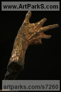 Bronze Love / Affection sculpture by Rogier Ruys titled: 'REACH OUT (bronze HAND of Artist Musician Author Sportsman statue)'