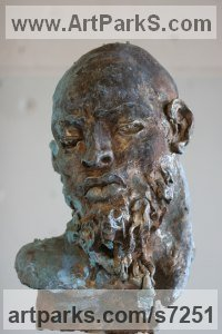 Bronze Sculpture of Men by Rogier Ruys titled: 'SILENCE ~Portrait (Commission Customised Head Bust statue statuette)'