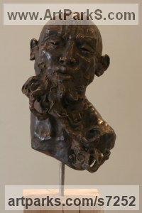 Bronze or a choice of Material Portrait Sculptures / Commission or Bespoke or Customised sculpture by Rogier Ruys titled: 'LAO TZU ~ Portait (Bronze Portrait Head Bust sculpture statue statuette)'