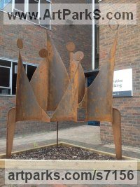 Steel Abstract Contemporary or Modern Large Public Art sculpture Statues statuary sculpture by Roland Lawar titled: 'Family III (Contemporary abstract Large Steel Outdoor statue statuary)'