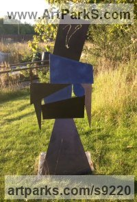 Steel Fabricated Metal Abstract sculpture by Roland Lawar titled: 'Girl next door'