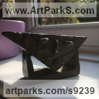 Bronze Angular Abstract Modern Contemporary sculpture statuary sculpture by Roland Lawar titled: 'Head'