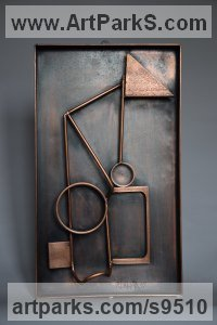 Steel Fabricated Metal Abstract sculpture by Roland Lawar titled: 'Motion 1'