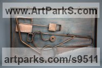 Steel Fabricated Metal Abstract sculpture by Roland Lawar titled: 'Motion 2'