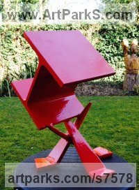 Heavy guage steel Geometric Sculpture Statues statuary statuettes. Usually Abstract Contemporary Modern work sculpture by Roland Lawar titled: 'Weightlessness'
