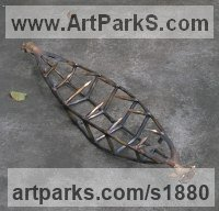 Transport including Road / Rail / Air / Aircraft / Sea / Maritime by sculptor artist Roman Ťalsk� titled: 'Schell (bronze abstract Canoe or Banana Fruit statues sculpture)' in Welding bronze