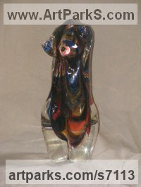 Hot Sculpted Glass Glass or Acrylic Transparant sculpture by Ron Seivertson titled: 'nude Beauty (Small Little Glass Girl`s Torso statuette figurine statue)'