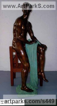 Bronze Mythical sculpture by Ronald Cameron titled: 'Adonis (Handsome Male nude life size Indoor/Outdoor sculptures statue)'