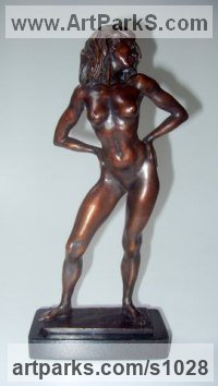 Bronze Sculptures of females by Ronald Cameron titled: 'Attitude Maquette (Little Provocative Sexy Love nude bronze statuettes)'