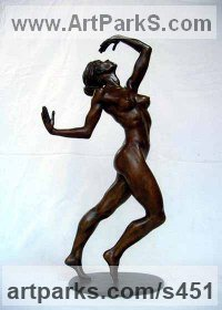 Sensual Sculpture or Statues by sculptor artist Ronald Cameron titled: 'Bernice (Small Provocative nude Naked Dancing Girl statuettes figurine)' in Bronze