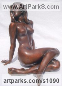 Bronze Females Women Girls Ladies sculpture statuettes figurines sculpture by sculptor Ronald Cameron titled: 'Carol'