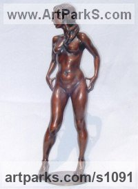 Bronze Females Women Girls Ladies sculpture statuettes figurines sculpture by sculptor Ronald Cameron titled: 'Debbie (New Shoes)'