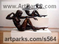 Bronze Females Women Girls Ladies sculpture statuettes figurines sculpture by sculptor Ronald Cameron titled: 'Infinity'