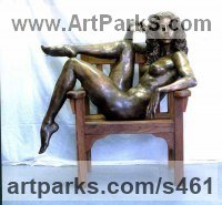 Bronze Females Women Girls Ladies sculpture statuettes figurines sculpture by sculptor Ronald Cameron titled: 'Marina'