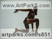 Bronze Females Women Girls Ladies sculpture statuettes figurines sculpture by sculptor Ronald Cameron titled: 'Roxanne (Small Bronze Kneeling Little nude Girl statuettes/figurines)'