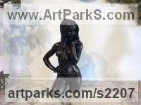 Torsos Sculpture or Chests of Men and Women Females Girls Children Statues statuery statuettes by sculptor artist Ronald Cameron titled: 'Stephanie (Little/Small bronze Naked Girl Wading statuettes/figurine)' in Bronze