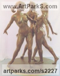 Bronze Females Women Girls Ladies sculpture statuettes figurines sculpture by sculptor Ronald Cameron titled: 'The Three Graces'