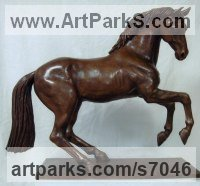 Bronze Horses Small, for Indoors and Inside Display sculpturettes Sculptures figurines commissions commemoratives sculpture by sculptor Ronald Cameron titled: 'Whistlejacket (Beautiful Little Bronze Prancing Horse sculpture)'