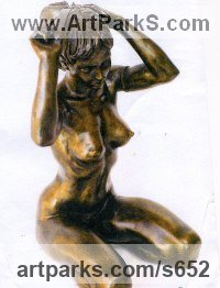 Resin Bronze Females Women Girls Ladies sculpture statuettes figurines sculpture by sculptor Ronald Cameron titled: 'Zara'