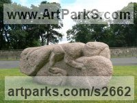 Granite Monumental sculpture by sculptor Ronald Rae titled: 'Dung Beetle (Big abstract Granite Carved Scarab sculptures)'