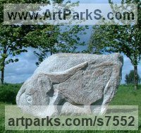 Granite stone Primitive or Naive style Sculpture or Statuary sculpture by Ronald Rae titled: 'Ox (Carved stone Granite abstract Cattle Outdoor statue)'