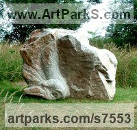Granite stone Animal Abstract Contemporary Modern Stylised Minimalist sculpture by sculptor Ronald Rae titled: 'Vulture and Carcass (Big Stone Outdoor Yard sculpture)'
