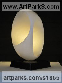 Alabaster on granite Spherical Globe like Ball shaped Round Abstract Contemporary sculpture statue statuette sculpture by Rosemarie Powell titled: 'Inner Room (Minimalist abstract Small statuettes)'