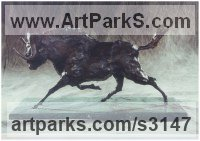 Bronze Cattle, Kine, Cows, Bulls, Buffalos, Bullocks, Heifers, Calves, Oxen, Bison, Aurocks, Yacks sculpture by Rosie Sturgis titled: 'Black Wildebeest (Galloping African Animal bronzes)'