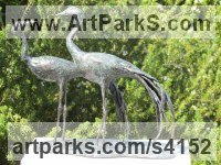 Bronze Birds Abstract Contemporary Stylised l Minimalist Sculpture / Statues sculpture by Rosie Sturgis titled: 'Blue Cranes (Wader Birds Indoor sculpture/statues)'