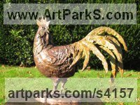 Bronze Farm Yard sculpture by Rosie Sturgis titled: 'Cockerel (bronze Rooster, Cock, Little statuettes)'