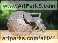 Bronze Insect Sculptures, to include Bees, Ants, Moths, Butterflies etc sculpture by Rosie Sturgis titled: 'Dung Beetle (Bronze live Scarab sculptures statuette)'