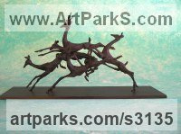 Bronze Deer sculpture by Rosie Sturgis titled: 'Leaping Buck (Small Jumping African Antelopes statue)'