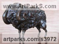 Bronze Farm Yard sculpture by Rosie Sturgis titled: 'Ram (Small bronze Horned Male Sheep statue statuette)'
