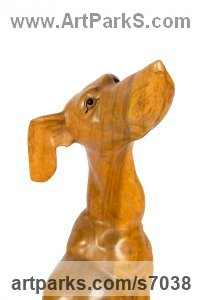 Teak Dog sculpture by Roxanne Pocha titled: 'Doggy Delights (Carved Wood Dog life size sculpture/statue)'
