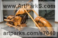 Teak Transport including Road / Rail / Air / Aircraft / Sea / Maritime sculpture by Roxanne Pocha titled: 'Harley Davidson Dream Machine (Carved Wood life size collectors statue)'