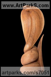 Mahogany wood Reptiles Sculptures and Amphibian sculpture by Roxanne Pocha titled: 'Spitting Cobra (Carved Wooden Realistic study sculpture statuette)'
