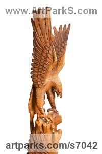Mara wood Wild Bird sculpture by Roxanne Pocha titled: 'Wild Eagle (Large Carved Wooden Landing Raptor Bird of Prey statue)'