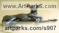 Commission and Custom and Bespoke sculpture Statues by sculptor artist Sally Arnup titled: 'Whippet Lying' in Bronze