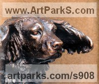 Commission and Custom and Bespoke sculpture Statues by sculptor artist Sally Arnup titled: 'Working Spaniel' in Bronze
