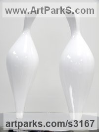 Cast Aluminum / Stainless Steel Minimalist Understated Abstract Contemporary Sculpture statuary statuettes sculpture by Sam Umaria titled: 'Doves (abstract Pair Billing and Cooing Modern figurines)'