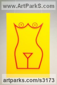 Aluminum, Perspex (Plexiglas) Wall Mounted or Wall Hanging sculpture by sculptor Sam Umaria titled: 'Manhattan Lady (Coloured Linear abstract nude sculpture)'