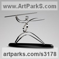 Stainless Steel or Chromed Brass/ wood Minimalist Understated Abstract Contemporary Sculpture statuary statuettes sculpture by Sam Umaria titled: 'Javelin Thrower (abstract Contemporary Sport sculpture)'