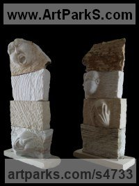 Marble and limestone Couples or Group sculpture by Sandra Borges titled: 'Anger, Irony, Envy, Fear (Carved stone Faces sculpture)'