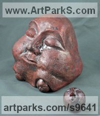 Ceramic Parent - Child sculpture by Sandra Borges titled: 'Curiosity'