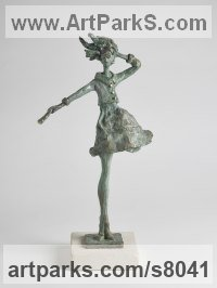 Bronze and Portland Stone Figurative Abstract Modern or Contemporary sculpture statuary statuettes figurines sculpture by sculptor Sara Ingleby-MacKenzie titled: 'Breezy (Thin Girl Model Standing in Wind statue)'