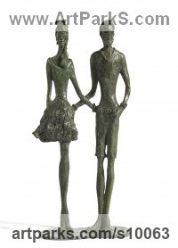 Bronze Couples or Group sculpture by Sara Ingleby-MacKenzie titled: 'Joined at the Hipster'